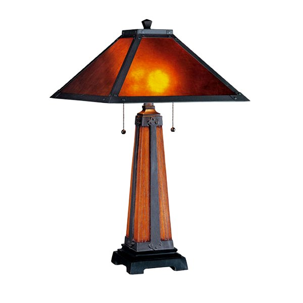 Mission Mica Table Lamp Bronze U0026 Walnut Base. View Images