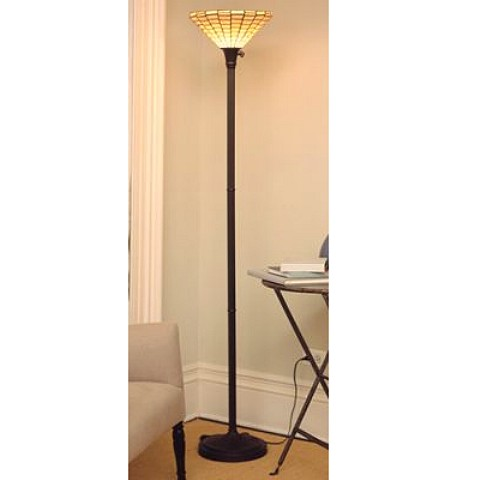 Tiffany Style Stained Glass Mission Torchiere Floor Lamp. View Images