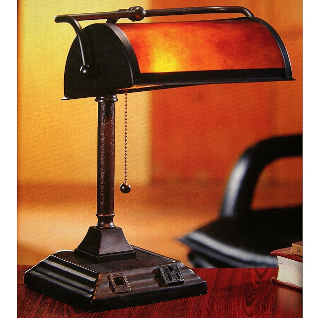Mica Mission Bankers Desk Lamp w/Phone & 110V Jacks. View Images - Desk Lamps Mission Lamps Tiffany Lamps Stained Glass