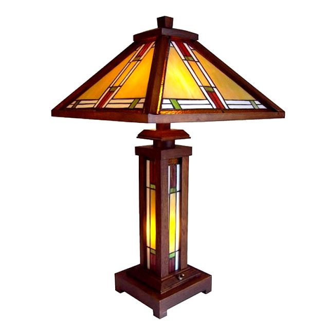 Amazing Wood Mission Tiffany Stained Glass Table Lamp. View Images