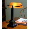 Amber Mahogany Bronze Bankers Desk Lamp