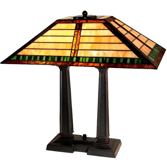 Craftsman Mission Tiffany Stained Gl Desk Lamp View Images