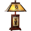 Mission Craftsman Tiffany & Walnut Table Lamp